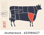 meat cuts. diagrams for butcher ... | Shutterstock .eps vector #632984627