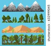 set of pixel landscape elements ... | Shutterstock .eps vector #632999045