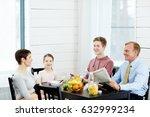 cheerful modern family of four...   Shutterstock . vector #632999234