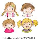 drawing of children doodle... | Shutterstock .eps vector #632999801