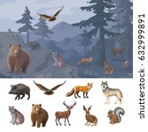 cartoon colorful forest animals ...   Shutterstock .eps vector #632999891