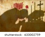 silhouette shadow of a priest... | Shutterstock . vector #633002759