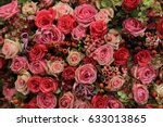 mixed pink roses in a floral... | Shutterstock . vector #633013865