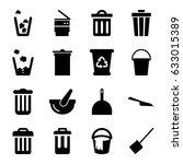 trash icons set. set of 16... | Shutterstock .eps vector #633015389