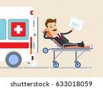 businessman lie on a stretcher... | Shutterstock .eps vector #633018059
