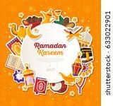 ramadan kareem banner with flat ... | Shutterstock .eps vector #633022901