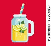 summer lemonade juice flat icon ... | Shutterstock .eps vector #633030629