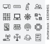network icon. set of 16 network ... | Shutterstock .eps vector #633048401