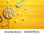 Tasty Sweets On Color Wooden...