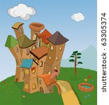 small fantastic knight's castle ... | Shutterstock .eps vector #63305374