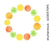 watercolor citrus  wreath. hand ...   Shutterstock . vector #633057095