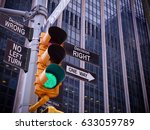 nyc wall street yellow traffic... | Shutterstock . vector #633059789