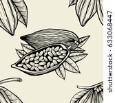 seamless pattern with leaves... | Shutterstock .eps vector #633068447