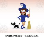 scary witch and cat illustration   Shutterstock .eps vector #63307321