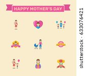 happy mother's day flat layout... | Shutterstock .eps vector #633076421