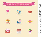 happy mother's day flat layout... | Shutterstock .eps vector #633081569