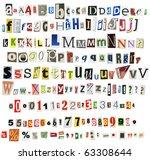newspaper alphabet with numbers ... | Shutterstock . vector #63308644