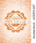 100  secure orange mosaic emblem | Shutterstock .eps vector #633091187