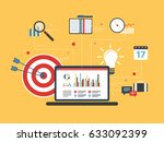 laptop with business data and... | Shutterstock .eps vector #633092399