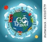 travel around the earth. go... | Shutterstock .eps vector #633107579