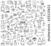 hand drawn doodle bathroom... | Shutterstock .eps vector #633110621
