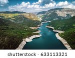 piva lake in montenegro aerial... | Shutterstock . vector #633113321
