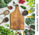 fresh raw greens  unprocessed... | Shutterstock . vector #633114551