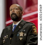 Small photo of Sheriff of Milwaukee County WIsconsin, David Clarke Jr. addresses the Republican National Convention at the Quicken Arena in Cleveland, Ohio, July 18, 2016