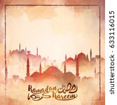 mosque silhouette watercolor... | Shutterstock .eps vector #633116015