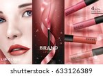 cosmetic ad with beautiful... | Shutterstock .eps vector #633126389