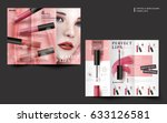 two sides of a cosmetic trifold ... | Shutterstock .eps vector #633126581