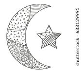 zentangle moon and star with... | Shutterstock .eps vector #633129995