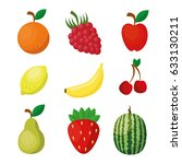 fruits healthy food vegan icons | Shutterstock .eps vector #633130211