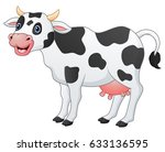 vector illustration of cute cow ... | Shutterstock .eps vector #633136595