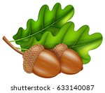 oak branch with acorns and... | Shutterstock .eps vector #633140087