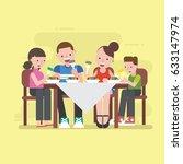 family dinner  | Shutterstock .eps vector #633147974