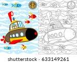 vector cartoon of submarine ... | Shutterstock .eps vector #633149261