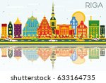 riga skyline with color... | Shutterstock . vector #633164735