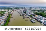 flooting market on the mekong...   Shutterstock . vector #633167219
