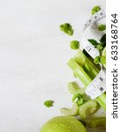 green smoothie on the white... | Shutterstock . vector #633168764