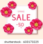 spring sale template with pink... | Shutterstock .eps vector #633173225