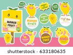 cute mango vector 1   mascot... | Shutterstock .eps vector #633180635