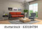 interior living room. 3d... | Shutterstock . vector #633184784