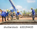 construction worker concrete... | Shutterstock . vector #633194435
