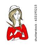 girl with brush. vector... | Shutterstock .eps vector #633195215