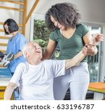 elderly people in rehab clinic... | Shutterstock . vector #633196787