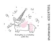 funny magic fairy corgi dog... | Shutterstock .eps vector #633197051
