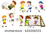 many boys playing football... | Shutterstock .eps vector #633206531