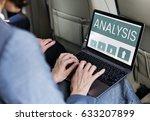 hands working on laptop network ... | Shutterstock . vector #633207899