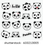 set of stickers with cute... | Shutterstock .eps vector #633213005